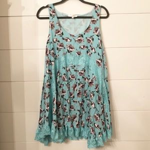 Light Blue Floral and Lace Ruffle Tunic Tank NWOT